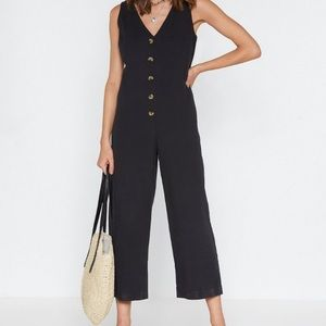 """NastyGal"" wide-leg black jumpsuit"